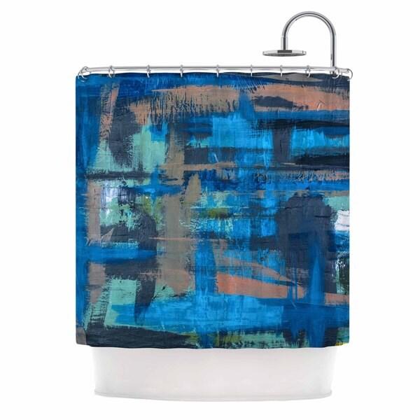 KESS InHouse Bruce Stanfield Hyper Blue Beige Painting Shower Curtain (69x70)