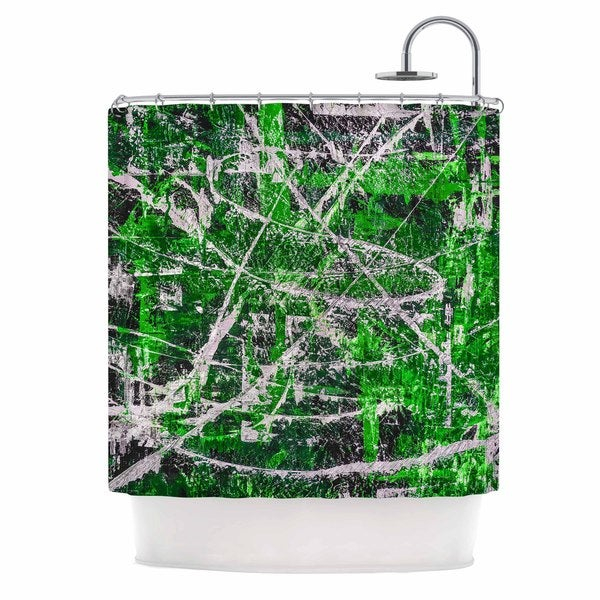KESS InHouse Bruce Stanfield Jade Green Painting Shower Curtain (69x70)