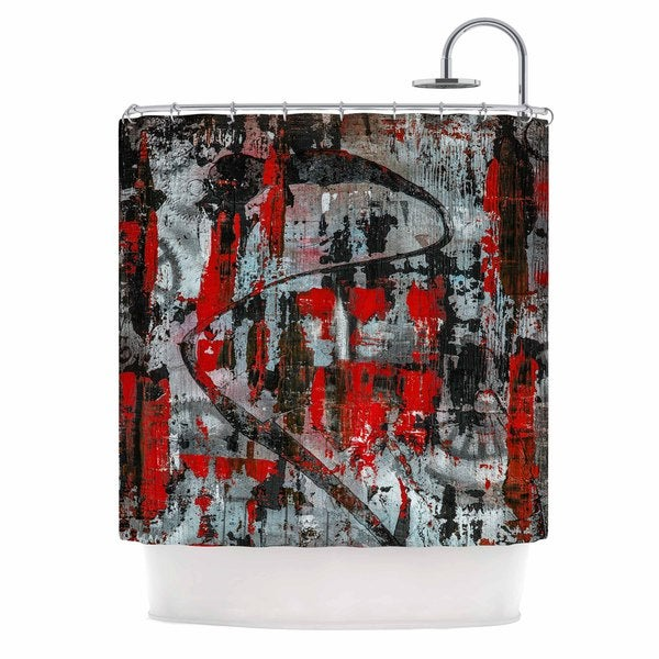 KESS InHouse Bruce Stanfield Zinger In Red Black Abstract Shower Curtain (69x70)