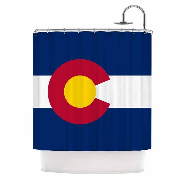 KESS InHouse Bruce Stanfield Colorado State Flag Blue Red Shower Curtain (69x70)