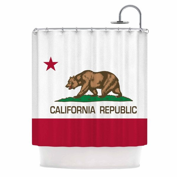 KESS InHouse Bruce Stanfield California State Flag Red White Shower Curtain (69x70)