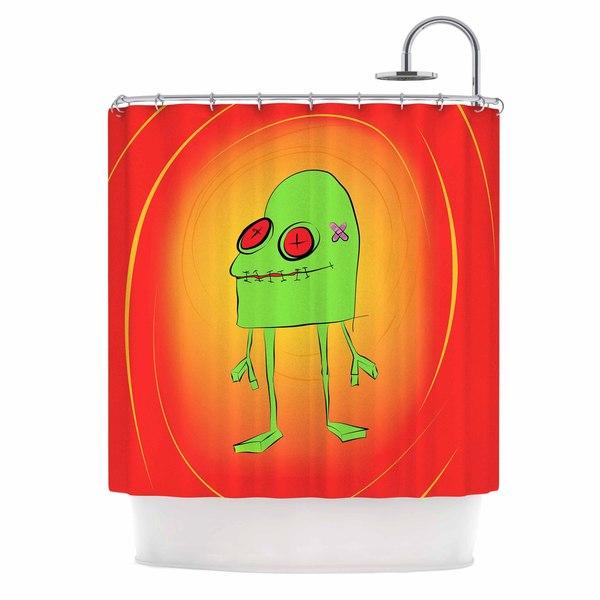 KESS InHouse Bruce Stanfield Introducing Obo Green Orange Shower Curtain (69x70)