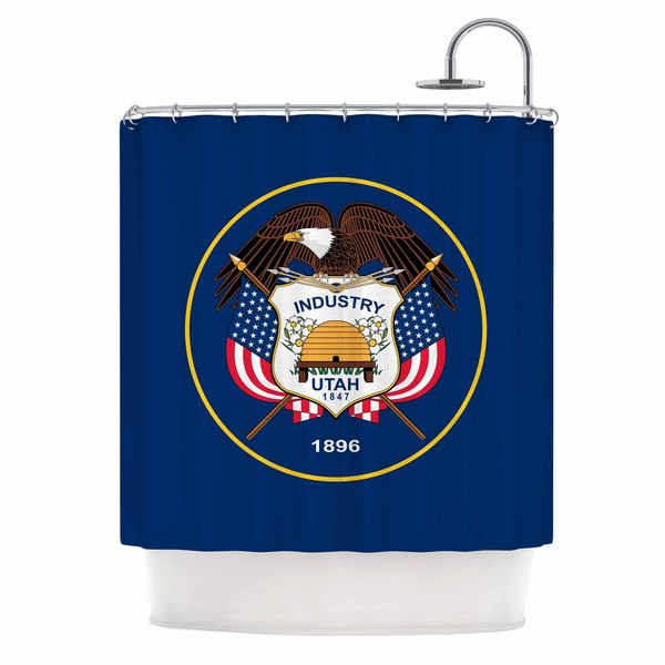 KESS InHouse Bruce Stanfield Utah State Flag Authentic Blue Red Shower Curtain (69x70)