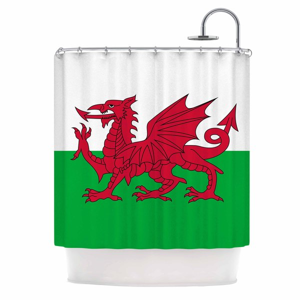 KESS InHouse Bruce Stanfield Flag Of Wales - Authentic Fantasy Illustration Shower Curtain (69x70)