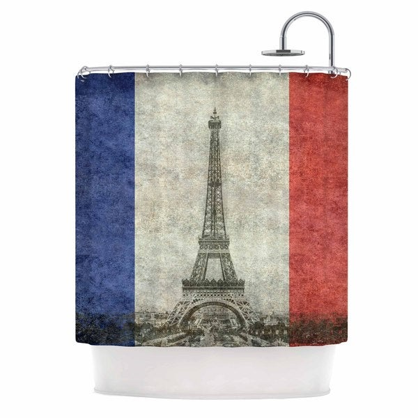 KESS InHouse Bruce Stanfield Vintage Paris Mixed Media Travel Shower Curtain 69x70