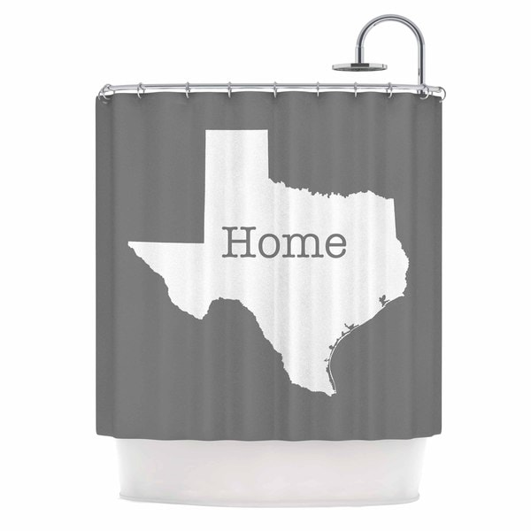 KESS InHouse Bruce Stanfield Texas Is Home White Gray Shower Curtain (69x70)