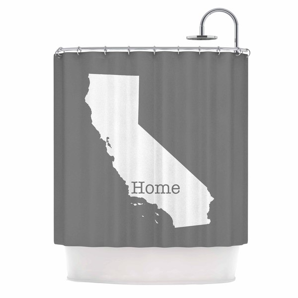 KESS InHouse Bruce Stanfield California Is Home Gray White Shower Curtain (69x70)