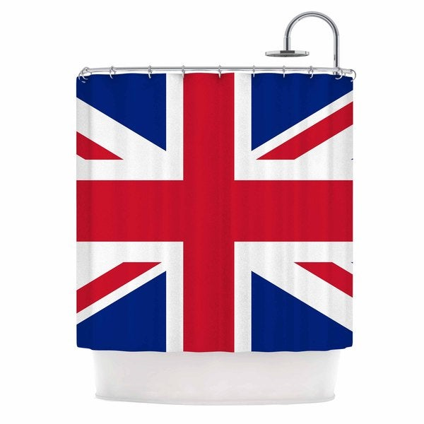 KESS InHouse Bruce Stanfield Classic Union Jack Blue Red Shower Curtain (69x70)