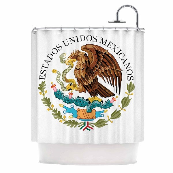 KESS InHouse Bruce Stanfield Mexico Emblem Brown White Shower Curtain (69x70)