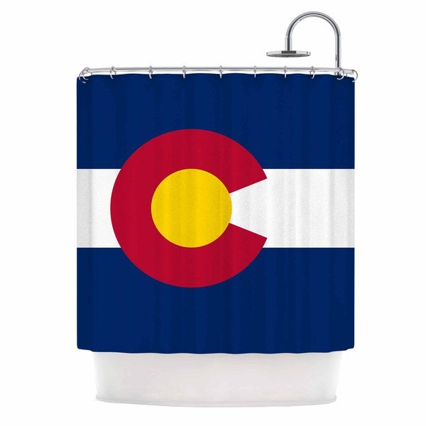 KESS InHouse Bruce Stanfield Flag of Colorado II Blue Red Shower Curtain (69x70)