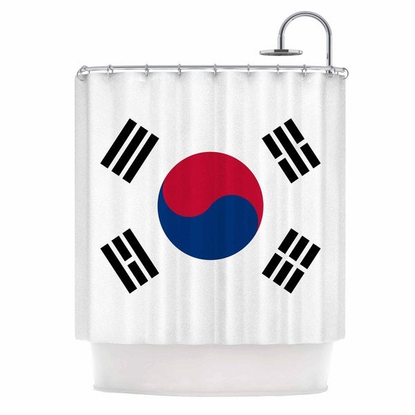 KESS InHouse Bruce Stanfield Flag of Korea White Digital Shower Curtain (69x70)