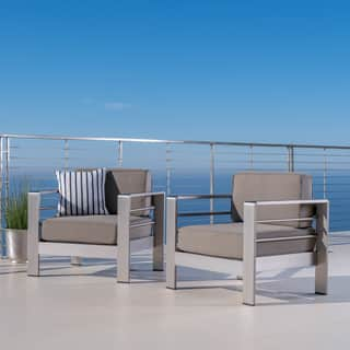 Cape Coral Outdoor Aluminum Club Chair with Cushions (Set of 2) by Christopher Knight Home|https://ak1.ostkcdn.com/images/products/15101699/P21588897.jpg?impolicy=medium