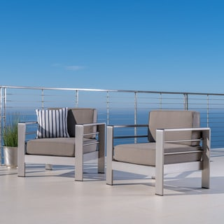 Cape Coral Outdoor Aluminum Club Chair With Cushions (Set Of 2) By  Christopher Knight Part 98