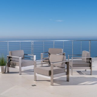 Cape Coral Outdoor Aluminum Club Chair with Optional Sunbrella Cushions (Set of 4) by Christopher Knight Home