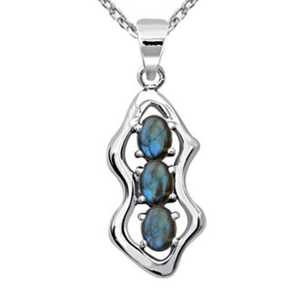 Orchid Jewelry 1.95 Carat Labradorite Sterling Silver 3-Stone Pendant Necklace