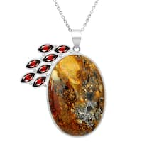 Orchid Jewelry 109 Carat Jasper and Garnet Sterling Silver Handmade Pendant Necklace