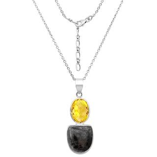 Orchid Jewelry 31.5 Carat Sugilite and Lemon Quartz Sterling Silver Handmade Pendant Necklace