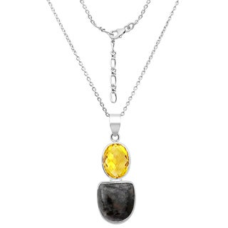 Orchid Jewelry 31.5 Carat Sugilite and Lemon Quartz Sterling Silver Handmade Pendant Necklace