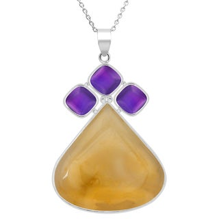 Orchid Jewelry 113 Carat Agate and Amethyst Sterling Silver Handmade Pendant Necklace