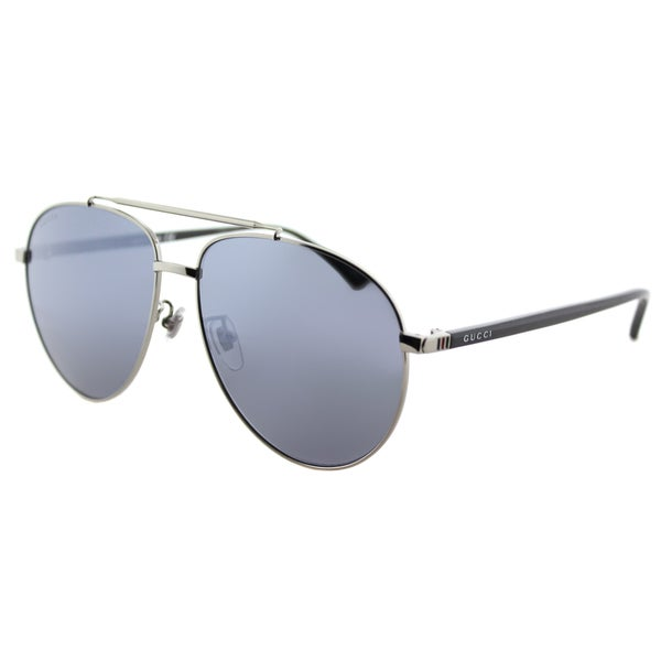 Gucci GG 0043SA 001 Asian Fit Silver Metal Aviator Sunglasses Blue Mirror Lens