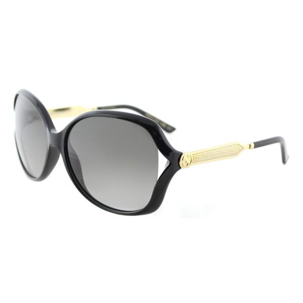 ef57b137472 Gucci GG 0076S 002 Black Gold Plastic Fashion Sunglasses Grey Gradient Lens