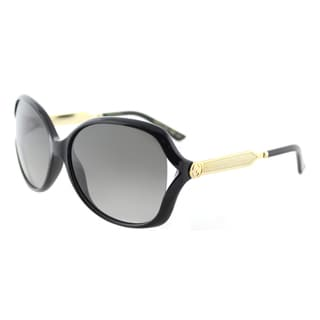 Gucci GG 0076S 002 Black Gold Plastic Fashion Sunglasses Grey Gradient Lens