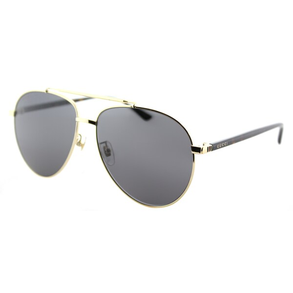 Gucci GG 0043SA 002 Asian Fit Grey Metal Aviator Sunglasses Grey Lens