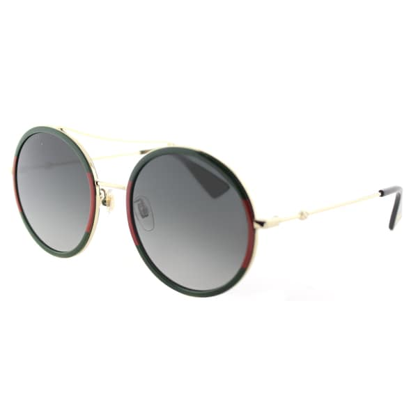 91304801e Gucci GG 0061S 003 Red Striped Green Gold Metal Round Sunglasses Grey  Gradient Lens