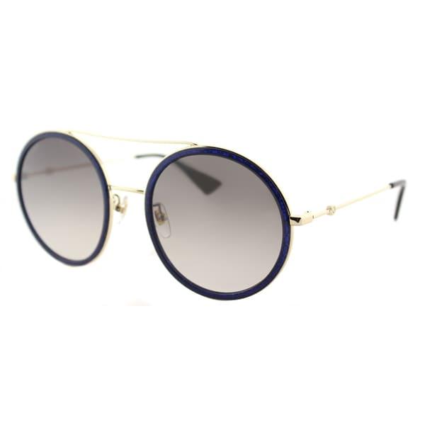 3509589e139 Gucci GG 0061S 005 Blue Sparkle Gold Metal Round Sunglasses Brown Gradient  Lens