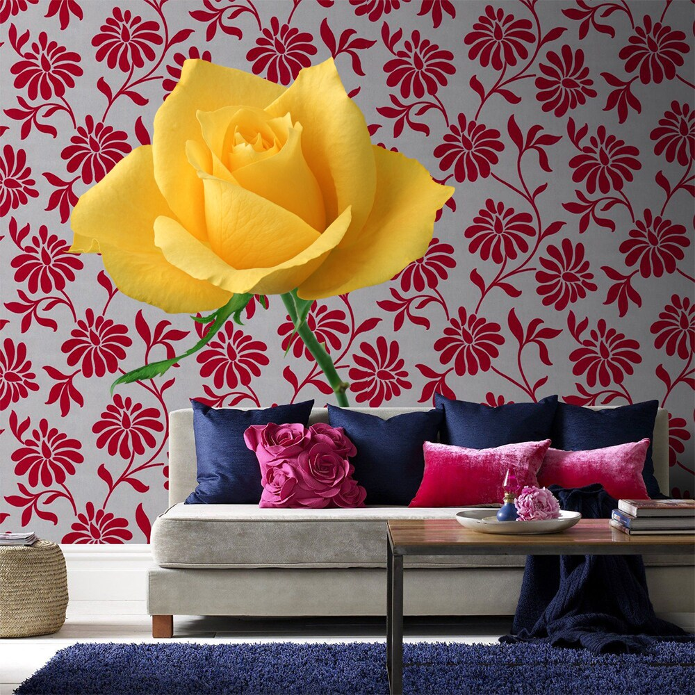 - Shop Full Color Yeallow Rose Flower Flowers Full Color Wall Decal