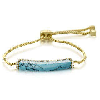 Turquoise and Crystal Adjustable Bracelet In Gold Over Brass