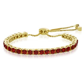 Red Crystal Adjustable Bracelet In Gold Over Brass