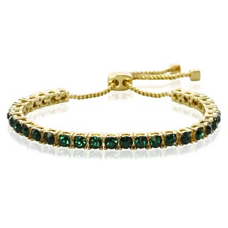 Green Crystal Adjustable Bracelet In Gold Over Brass