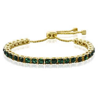 Green Crystal Adjustable Bracelet In Gold Over Brass