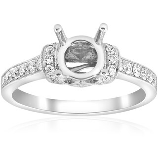 18K White Gold .36 ct TDW Diamond Vintage Single Row Engagement Ring Semi Mount Setting (F-G,VS1-VS2)