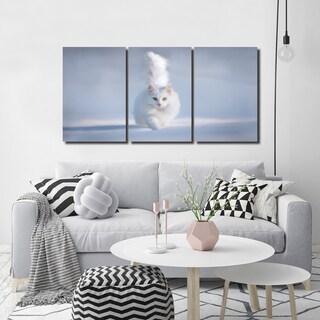 Ready2HangArt Indoor/Outdoor 3 Piece Wall Décor Set 'Yellow Eyes' in ArtPlexi - White