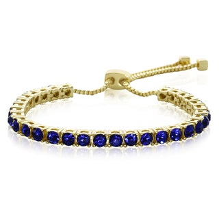 Blue Crystal Adjustable Bracelet In Gold Over Brass