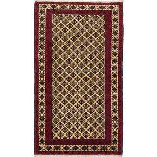 ecarpetgallery Hand-Knotted Finest Baluch Blue Wool Rug (2'11 x 5'0)