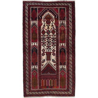 ecarpetgallery Hand-Knotted Finest Baluch Blue, Brown  Wool Rug (3'1 x 5'6)