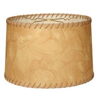 Royal Designs Shallow Drum Lamp Shade, Light Brown Faux Leather with Lace, 15 x 16 x 10