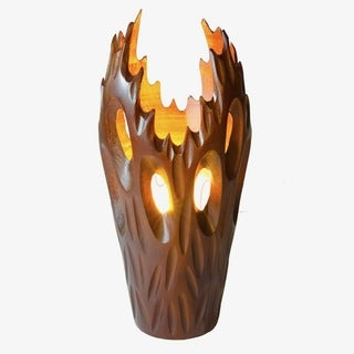 Table Lamp FLAME, carved from Mango wood. Dark Brown.