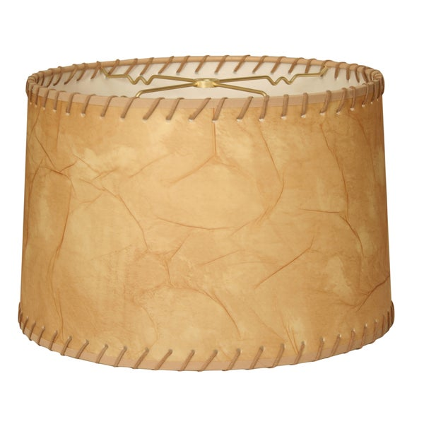 Royal Designs Shallow Drum Lamp Shade Light Brown Faux Leather With Lace 11 X