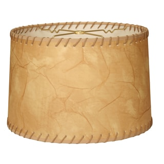 Royal Designs Shallow Drum Lamp Shade, Light Brown Faux Leather with Lace, 9 x 10 x 7