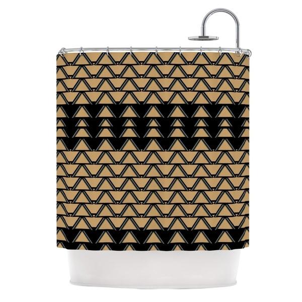 KESS InHouse Nina May Deco Angles Gold Black Shower Curtain (69x70)
