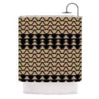 KESS InHouse Nina May Deco Angles Gold Black Shower Curtain (69x70)
