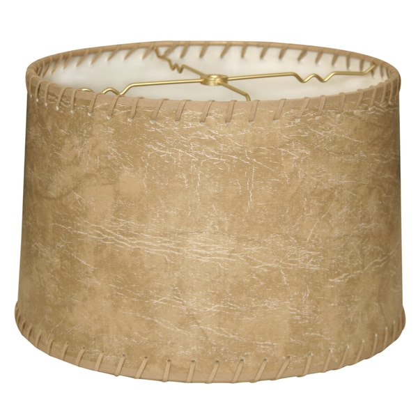Royal Designs Shallow Drum Lamp Shade, Brown Faux Leather with Lace, 15 x 16 x 10