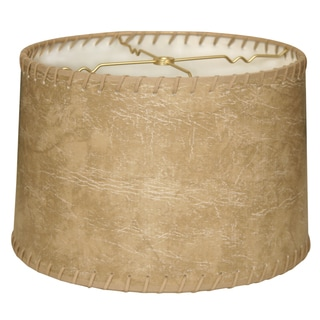Royal Designs Shallow Drum Lamp Shade, Brown Faux Leather with Lace, 13 x 14 x 9