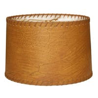 Royal Designs Shallow Drum Lamp Shade, Dark Brown Faux Leather with Lace, 15 x 16 x 10