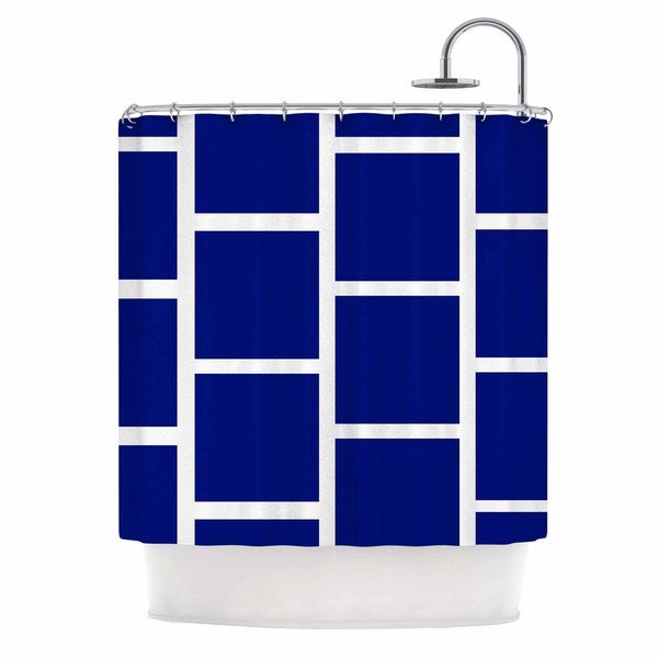 KESS InHouse NL designs Navy Square Blocks White Pattern Shower Curtain (69x70)