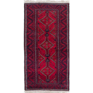 eCarpetGallery Finest Baluch Red Wool Hand-knotted Rug (3'8 x 7'4)